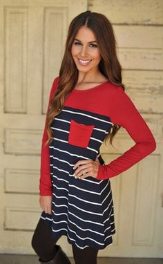 Striped Color Block Tunic- Red/Navy