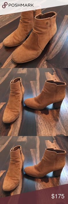 Tory Burch Suede Booties! Very cute Tory Burch suede camel brown booties! I got a lot of use out of these shoes but I'm trying to sell them now! Feel free to make an offer! Tory Burch Shoes Ankle Boots & Booties