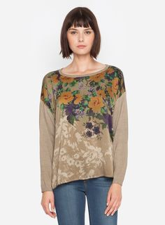 Like a cosy sweater but so much more. The 4 Love & Liberty NIGHT ROSES PULL OVER features a gorgeous silk charmeuse front with a beautiful rose print. The back and sleeves are a super soft silk cashmere. This is a luxe basic that can easily be dressed up or down.