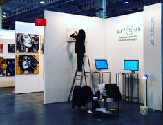 The ArtMoi Booth under construction at the Artist Project Contemporary Art Fair in Toronto, February 2016 Artist Project, Art Database, February 2016, Art Fair, Lovers Art, Toronto, Contemporary Art, Construction, Projects