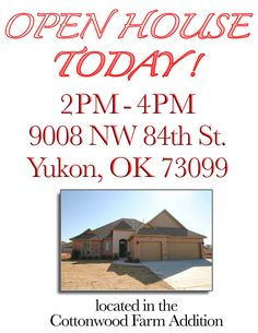 Come on out and see this beautiful new construction home built by Chet Walters! Call me if you need anything! 405.888.6400