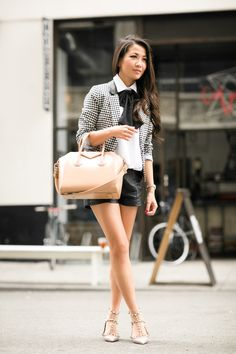 Gingham blazer & T-strap flats at Wendy's Lookbook #streetstyle
