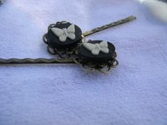 Fancy Black and White Butterfly Cameo and Floral Brass Hair Pins  | RosesHeirlooms - Jewelry on ArtFire