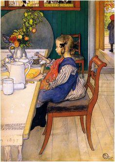 """O miserável café-da-manhã de quem se levantou tarde. Aquarela. 1900. Carl Larsson (1853–1919). Larsson é famoso por suas pinturas em aquarela. Esta faz parte de 32 aquarelas reunidas em seu livro """"Larssons"""" de 1902."""