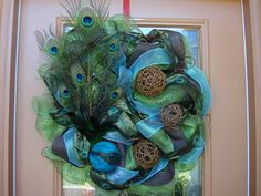 Deco Mesh Peacock Feather wreath, Peacock Wreath, Feather Wreath Door Wreath