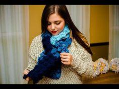 Bufanda cuatricolor tejido a crochet punto circulos ovalados 01 - YouTube