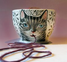 Tabby Cat Yarn Bowl  White stoneware with sculpted by MaidOfClay