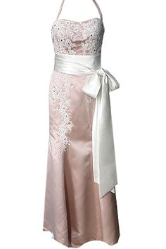 Ivory and pink bridesmaid dress