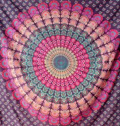 PURPLE COTTON FABRIC Tapestry Mandala Wall Hanging Large Bohemian Hippie Bedding Bedspread Throw Boho Ethnic Home Decor -FabricSarmaya