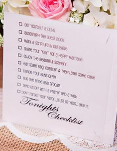 "Cute. A ""to do"" checklist of activities for guests."