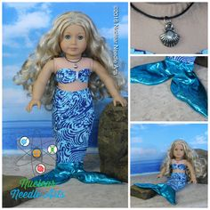 Mermaid outfit by NuclearNeedleArts on Etsy. Made using A Mermaid Tale pattern. Get it at http://www.pixiefaire.com/products/a-mermaid-tale-18-doll-clothes. #pixiefaire #amermaidtale
