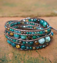 5 times Wrap Bracelet Green Agate mix Boho bracelet by G2Fdesign