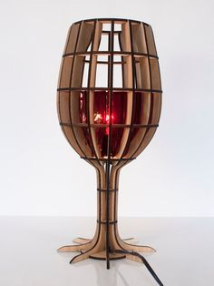Laser Cut Oak Wine Glass Lamp