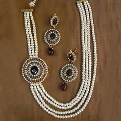 Deep Maroon, Off White and Green Polki Studded Necklace Set