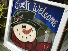 Custom Hand Painted Art Winter Christmas Snowman Decoration Old Window