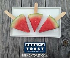 Here's a new treat to cool off this summer! Simply cut watermelon into wedges & add a popsicle stick for this perfect refreshing summer snack. #WeekendSnack #parenting #kids