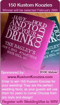 Wedding Giveaway - Win koozies for your wedding in this contest! Winner to be selected 2/26/14.  Register at www.weddingvibe.com  Keywords:  #entertowin #winabridalgift #jevelweddingplanning Follow Us: www.jevelweddingplanning.com  www.facebook.com/jevelweddingplanning/