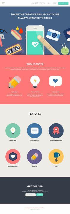 Nice app website - flat design - illustration