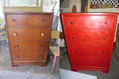 Old beat up dresser redone with Annie Sloan Chalk Paint in Emperor's Silk, and hand rubbed with clear and dark wax.