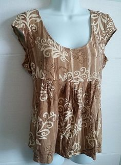 AXCESS BY LIZ CLAIBORNE BROWN TAN FLORAL PRINT CAP SLEEVE TUNIC TOP SHIRT LARGE #Axcess #KnitTop