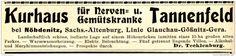 Original-Werbung/ Anzeige 1915 - KURHAUS TANNENFELD BEI NÖBDENITZ - ca. 110 x 20 mm