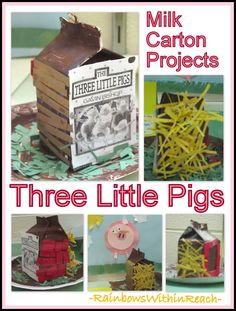 Three Little Pigs: Nursery Rhymes Milk Carton Project via Little Pigs RoundUP at RainbowsWithinReach - great with AIM (Les Trois Petits Cochons)! Preschool Literacy, Preschool Activities, Book Activities, 3 Little Pigs Activities, Nursery Activities, Kindergarten Books, Kindergarten Centers, Activity Ideas, Educational Activities