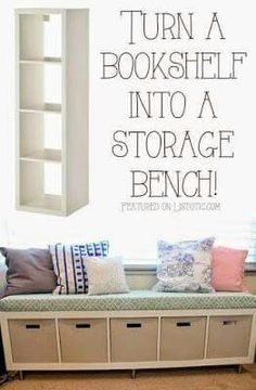 From bookshelf to bench.  http://helpingkidsgrowup.blogspot.ca/2015/06/how-to-turn-bookshelf-into-storage-bench.html?m=1