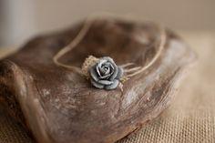 Newborn Tieback, Neutral Grey Flower Moss and Feather Newborn Tieback, Great Photography Prop