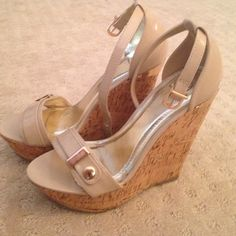 Nude wedge sandals with gold accent Nude wedge sandals with gold accents. Never worn!! Brand new! Shoes Sandals