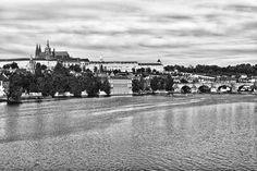 Prague Charles bridge view photo black and white photoshop edit