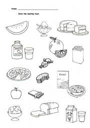 Healthy vs Unhealthy food choices worksheet. Use it as a