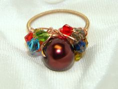 Recycled Guitar String Ring with Chocolate by CreationsbyDreamLady