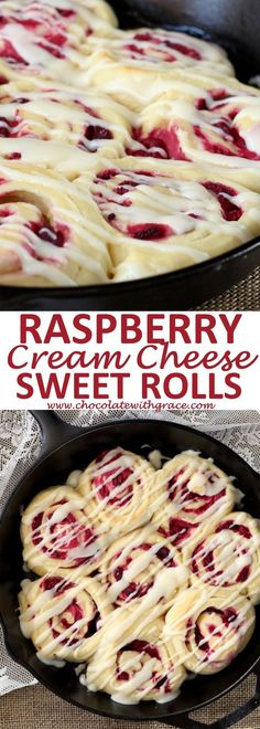 Raspberry Cream Cheese Sweet Rolls Soft, buttery rolls spread with a cream cheese mixture and stuffed with juicy raspberries. These Raspberry Cream Cheese Sweet Rolls make a special treat. - Raspberry Cream Cheese Sweet Rolls l Brunch Recipes, Sweet Recipes, Breakfast Recipes, Dessert Recipes, Breakfast Ideas, Brunch Appetizers, Cake Recipes, Food Recipes Summer, Bread Recipes