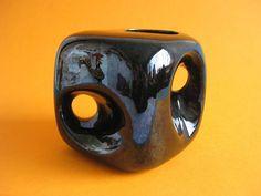 Black Vintage Sculptural Cube / Ikebana vase Bertoncello