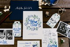 Blue and white Parisian-inspired calligraphy and florals wedding invitation suite // French Flair: Josh and Vivian's Parisian-Themed Wedding at Grand Hyatt