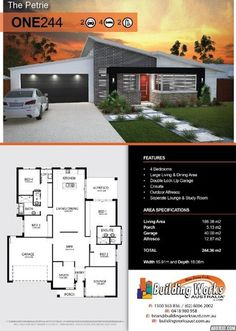 THE PETRIE - 4 bedrooms, large living/dining areas, double garage, bathroom, ensuite & WIR, outdoor alfresco, separate lounge & study room, skillion roof & porch. Total building 186.36m2. House width: 15.91m2, House depth: 18.08m2. Living area: 186.36m2 Porch: 5.13m2 Garage: 40.00m2 Alfresco: 12.87m2 Our plans can be changed to accommodate our clients requirements and price point. That's what makes our homes unique and craftsman built! #singlestoreyhomeplans @buildingworksau
