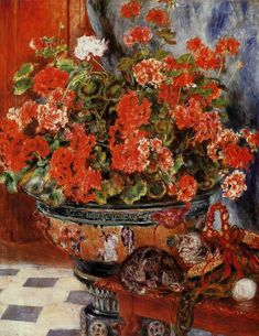 Geraniums and Cats - Pierre-Auguste Renoir Paintings Renoir Paintings, Paintings I Love, Painting Prints, Fine Art Prints, Oil Paintings, Cat Prints, Pierre Auguste Renoir, August Renoir, Impressionist Art