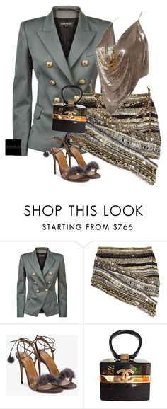 """Untitled #953"" by jetadorejas ❤ liked on Polyvore featuring Balmain, Aquazzura and Chanel"