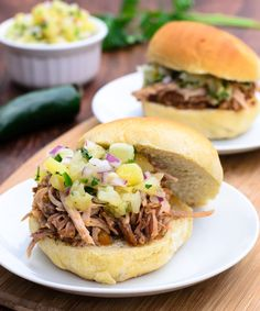 Hawaiian BBQ Pulled Pork Sandwich with Pineapple Relish is super easy and so good! - The Spice Kit Recipes