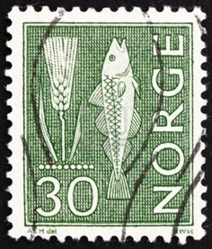 NORWAY - CIRCA 1963: a stamp printed in the Norway shows Rye and Fish, circa…