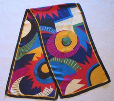 Perry Ellis Colorful Abstract Print Long Silk by PastPiecesVintage