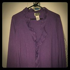 Purple Ruffle Cardigan Long sleeve purple cardigan sweater. This has pretty ruffles and eyelet hook at the bust. The sleeves have the ruffles too. It just doesn't fit anymore. Just My Size Sweaters Cardigans