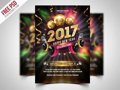 Download New Year 2017 Party Flyer Free PSD. New years eve is definitely the greatest events of each year. A free New Year 2017 Party Flyer PSD is designed to promote your next new years eve party and club events. Promote your upcoming new year celebration with this New Year Party Flyer Template. Create outstanding offline and online advertisement campaigns or simply create a great party invitation design. Fully Editable, you can modify everything very easy and quick.