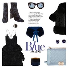 """Rhythm and (blacks and) blues"" by pensivepeacock ❤ liked on Polyvore featuring Chanel, Elie Saab, Illesteva, David Webb and CÉLINE"