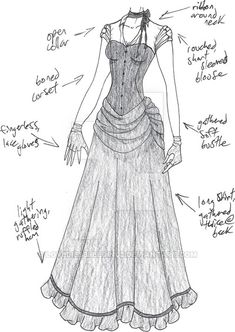 PLEASE NOTE: I do not allow any use of my designs.my Halloween costume :] minus the bustle part, which I sadly don't own. Clothing Sketches, Dress Sketches, Fashion Sketches, Corpse Bride Wedding, Corpse Bride Costume, Dress Drawing, Drawing Clothes, Anime Outfits, Fashion Outfits