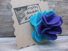 Turquoise & Purple Scrappy Felt Flower Pin by rattydaddydinkdum, $5.00
