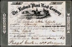Stock certificate for The Flatbush Plank Road Company guaranteeing twenty shares to John Lefferts, 1863  Throughout the nineteenth century, family members invested in companies that would improve access to and from Flatbush town. In 1810, Lefferts Lefferts (1774-1847) of Bedford purchased stock in the Brooklyn, Jamaica, and Flatbush Turnpike Company, which connected Flatbush to the towns of Brooklyn, Bushwick, and others in Queens County. To improve the rough and muddy roads that crossed…