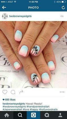Ombré with palm trees beach holiday nails, summer beach nails, beach toe nails, Plage Nail Art, Hawaii Nails, Florida Nails, Cruise Nails, Palm Tree Nails, Nails With Palm Trees, Nails 2017, Super Nails, Nails Inc