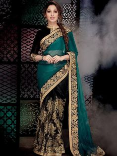 Dark Green & Black Coloured Beautiful Designer Saree