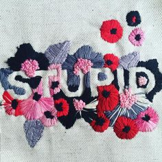 😝 #CustomHate #embroidery #flowers #typography #embroiderytype (at Brooklyn, New York)